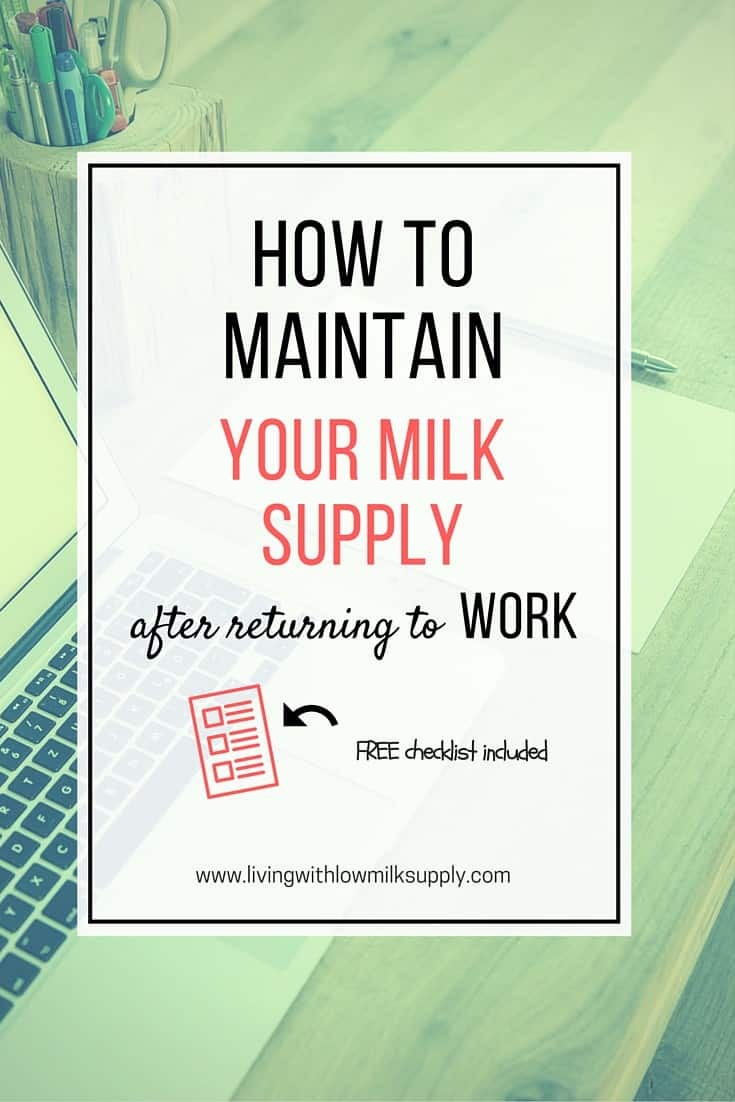 how to maintain milk suupply while working