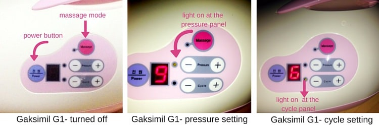 Gaksimil G1 dual breast pump review - display panel