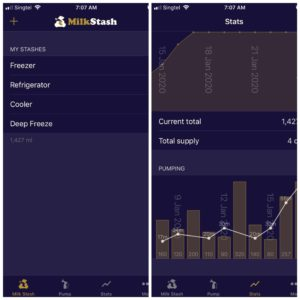 milkstash user interface - best breast pumping apps for working moms